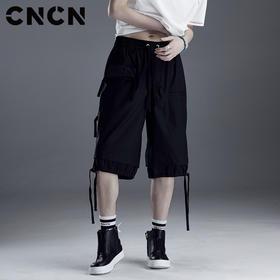 CNCN男装 夏季男士休闲短裤 黑色宽松潮五分裤夏天裤子CNDK29113