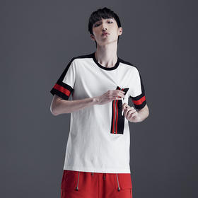 CNCN男装 夏季纯棉青年男T恤 短袖撞色宽松薄款体恤衫CNDT20980