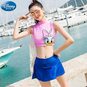 少女分体泳衣迪士尼女生裙式保守学生韩版可爱运动泳装儿童游泳衣