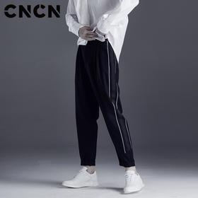 男士休闲裤黑色修身小脚运动裤裤子CNDK29166