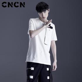 CNCN男装商场同款男士夏季胸口拼接T恤 男士个性时尚T