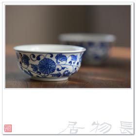 长物居 手绘青花品茗杯缠枝莲纹 景德镇手工陶瓷茶具功夫茶杯