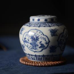 长物居 明成化手绘青花瓷天字罐 景德镇手工薄胎陶瓷茶叶罐茶具
