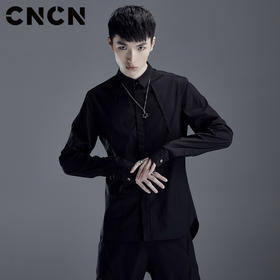 CNCN男装 春季薄款长袖衬衫 不对称纯色修身潮牌衬衣CNDC19110