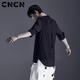 CNCN男装 夏天假两件黑色T恤 纯棉短袖薄款青年潮牌体恤CNDT20939