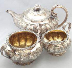 【菲集】艺术品 1822年格拉斯哥镀金水壶 三件套 收藏品 跨境直邮