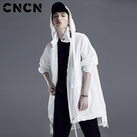 CNCN男装 春季新品男青年风衣 中长款潮人休闲连帽外套CNDF19111