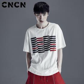 CNCN男装 夏季撞色织带白色T恤 精梳棉宽松薄款短袖T恤CNDT20955