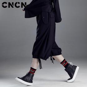 CNCN男装 夏季宽松大码休闲裤 男黑色松紧腰短裤七分裤CNDK29114