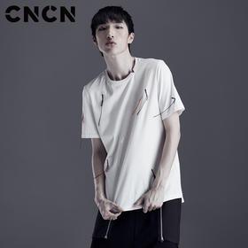 CNCN男装 夏季青年个性短袖T恤 针织纯棉薄款宽松体恤衫CNDT20971