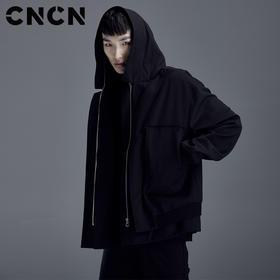 CNCN男装 2018春季新款外套 男修身连帽潮流贴袋夹克CNDJ19101