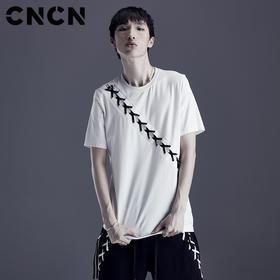 CNCN男装 青年潮牌编绳个性T恤 男棉T短袖薄款夏天体恤 CNDT20973