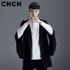 CNCN男装 2018春新款个性袖子风衣 暗黑时尚宽松外套 CNDF19117