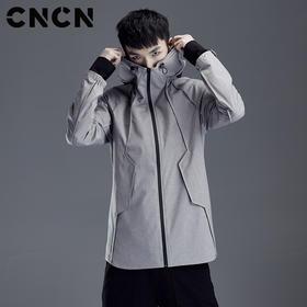CNCN男装2018春季新款连帽夹克 男抽条立领防风外套 CNDJ19148