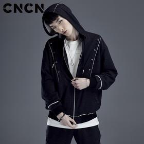 CNCN男装2018春季新款拼接夹克 男修身潮流个性外套 CNDJ19125