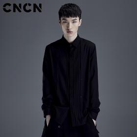 CNCN男装 2018春季新品长袖衬衫 男士修身条纹黑色衬衣 CNDC19109