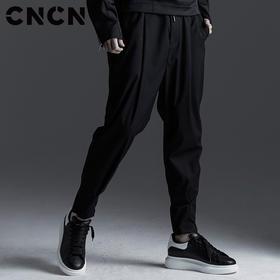 CNCN男装 2018春季新款男休闲裤 个性暗黑潮流束脚卫裤CNBK11004