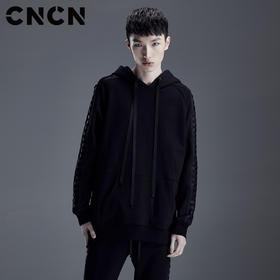 CNCN男装2018春季潮流套头卫衣 男士修身暗黑风休闲服 CNDX19103