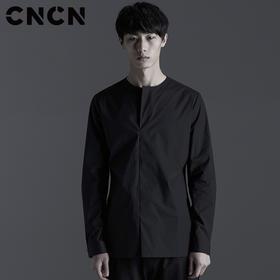 CNCN品牌 春季青年休闲服 圆领长袖衬衫 男士净色衬衣CNBX10201