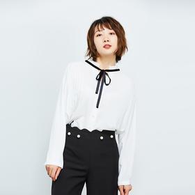 复古系带褶皱白色衬衫-N
