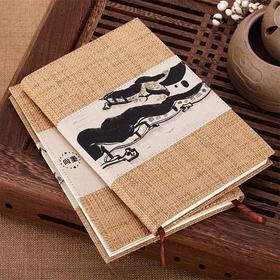 古风笔记本软抄本记事本 中国风草编布面日记本文具 复古简约办公