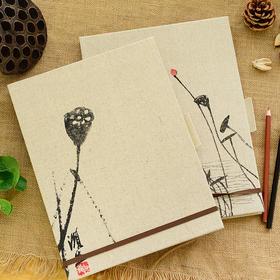 古风布面A4素描本空白速写 中国风手绘临摹本涂鸦绘画本 复古文具