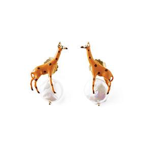 长颈鹿珍珠耳钉