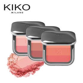 「 阿玛尼秀场同款,持久修饰」KIKO新款渐变三色腮红盘胭脂 自然裸妆 持久高光修容 哑光 便携