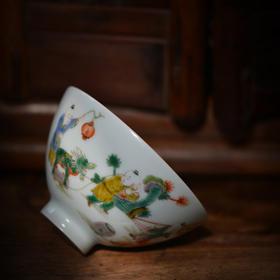 长物居 长窑制器 手绘五彩婴戏图鸡心碗 景德镇手工陶瓷餐具饭碗