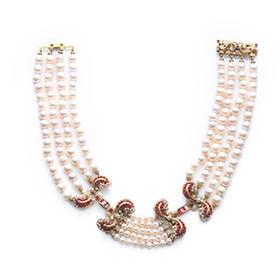 四盘H型珍珠项链