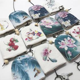 古风钥匙包零钱包挂件收纳袋子 中国风手绘帆布包礼物 复古小清新