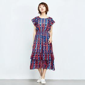荷叶边装饰印花连衣裙