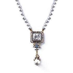 黑珍珠意式陶瓷嵌画饰品项链