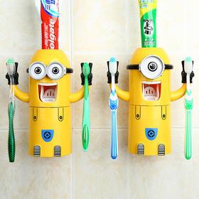 小黄人牙刷架套装 情侣小黄人洗漱套装 创意自动挤牙膏器