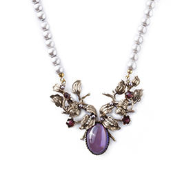珍珠树脂坠扣式项链