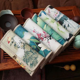 古风钱包女手拿钱夹包帆布包 中国风三折零钱包棉麻票夹 复古创新