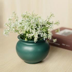 长物居 孔雀绿釉花囊 景德镇单色釉陶瓷陈设雅玩小花插