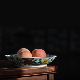 长窑制器 手绘素三彩暗刻龙纹石榴花赏盘 景德镇手工仿古陶瓷盘子