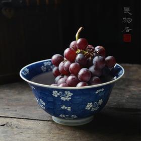 长物居 康熙风 手绘青花冰梅纹瓷器大碗 景德镇手工仿古陶瓷碗