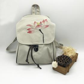 古风双肩背包女手绘包帆布 中国风大容量旅行包 复古百搭文艺学院