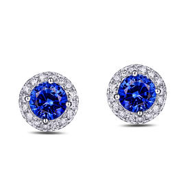 DENG HUA 天然蓝宝石钻石耳钉