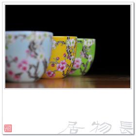 长物居 手绘粉彩色地瓷器茶杯品茗杯 景德镇手工陶瓷茶具