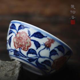 热卖 手绘青花釉里红花卉纹卧足杯鸡缸杯 景德镇手工陶瓷茶杯茶具