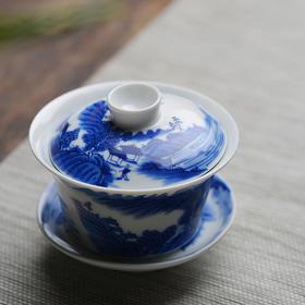 包邮 手绘青花山水图陶瓷三才盖碗盖杯 景德镇手工瓷器茶碗茶具