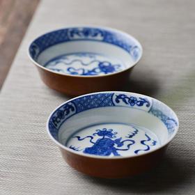 外酱釉内青花狮子绣球茶碟 景德镇纯手工仿古陶瓷茶具