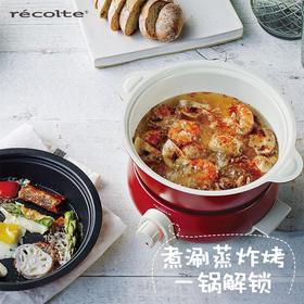 recolte丽克特 日本迷你家用双人小火锅学生锅多功能锅蒸煮涮炸锅