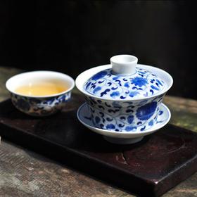 长物居 景德镇手绘青花盖碗缠枝莲纹 手工陶瓷三才碗茶杯茶碗茶具