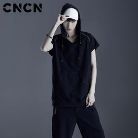 CNCN男装 夏季青年男短袖连帽T恤 黑色薄款宽松运动卫衣CNDT20976