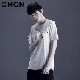 CNCN男装 夏季口袋纯棉T恤 白色宽松薄款青年短袖体恤CNDT20978
