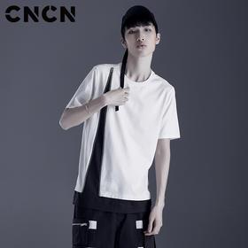 CNCN男装 夏季青年个性撞色潮牌体恤 男纯棉薄款短袖T恤CNDT20982